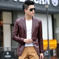 Leather clothing male suit slim short design high quality PU leather jacket male thin outerwear  8838