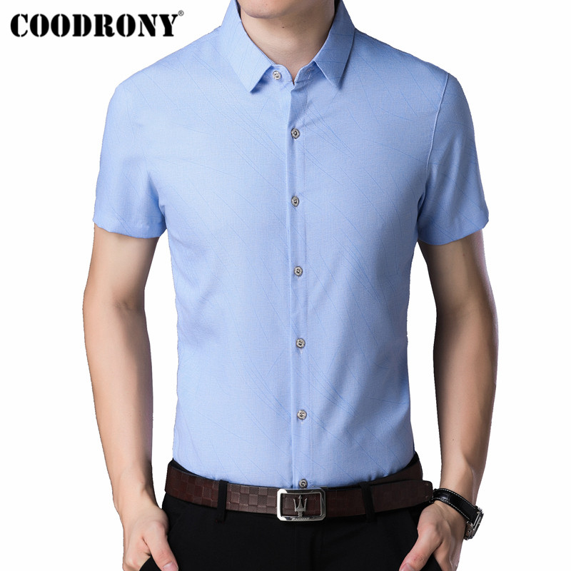 COODRONY Short Sleeve Men Shirt 2019 Summer Cool Shirt Men Clothing Business Casual Shirts Camisa Masculina Chemise Homme S96032 in Casual Shirts from Men 39 s Clothing