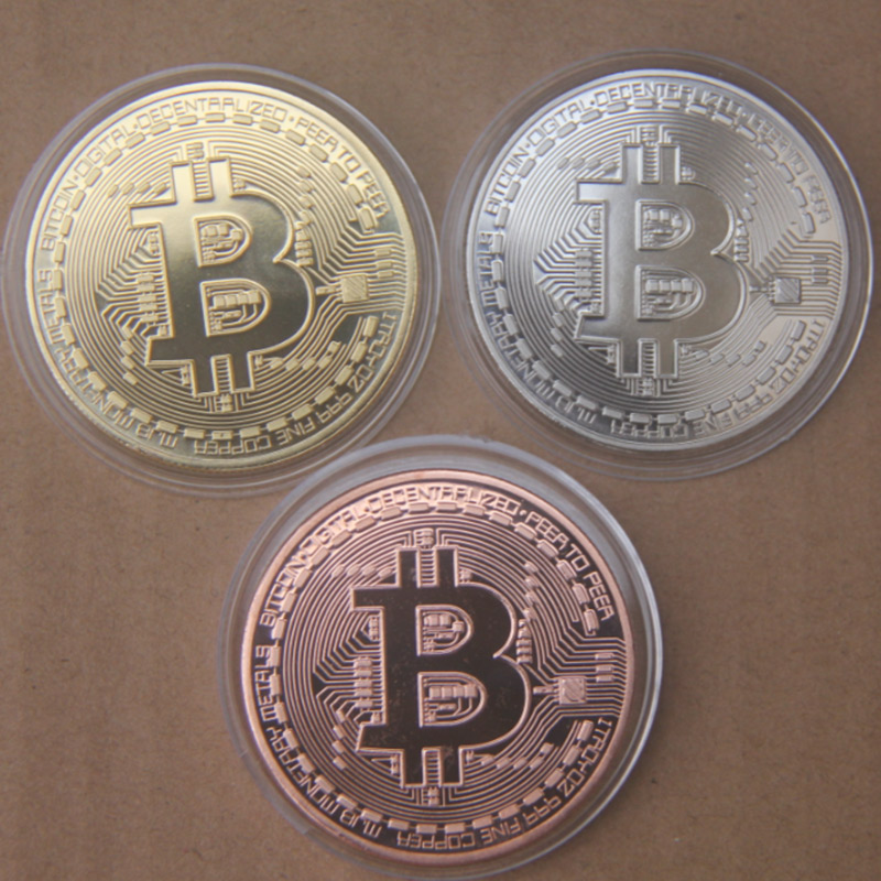 3 Teile/satz Bitcoin BTC Medaille Gold/Splitter/Kupfer Überzogene Stahlkern Kopieren Münze Souvenir Metall Handwerk Münzen Dia 40mm