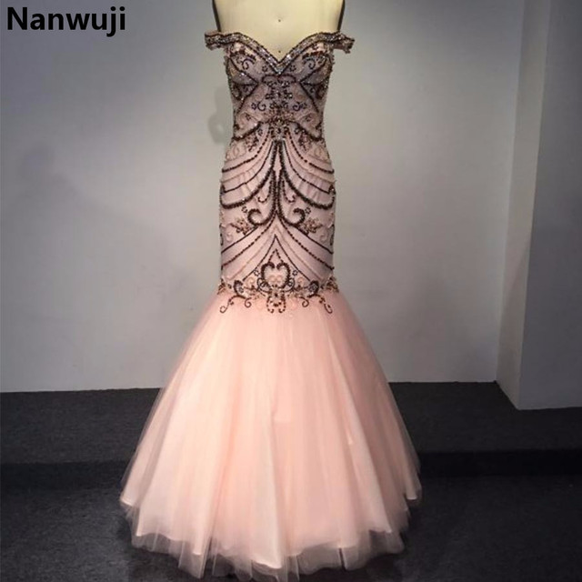 cd054067d9f New Fashion Mermaid Prom Dress Sweetheart Beaded Crystal Pink Prom Dresses  Slim Graceful Evening Gown Size Plus 22 24 26 S013