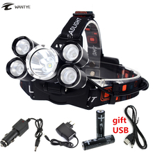 цена на 5 LED Headlight High Power Headlamp Rechargeable head light 12000 Lumens LED XM-L T6+4XPE head torch +18650 Battery +charger
