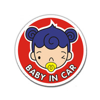 Savanini Car-Styling Red Baby Girl In Car Emblem Badge Vinyl Reflective Safety Warning Sticker Decals