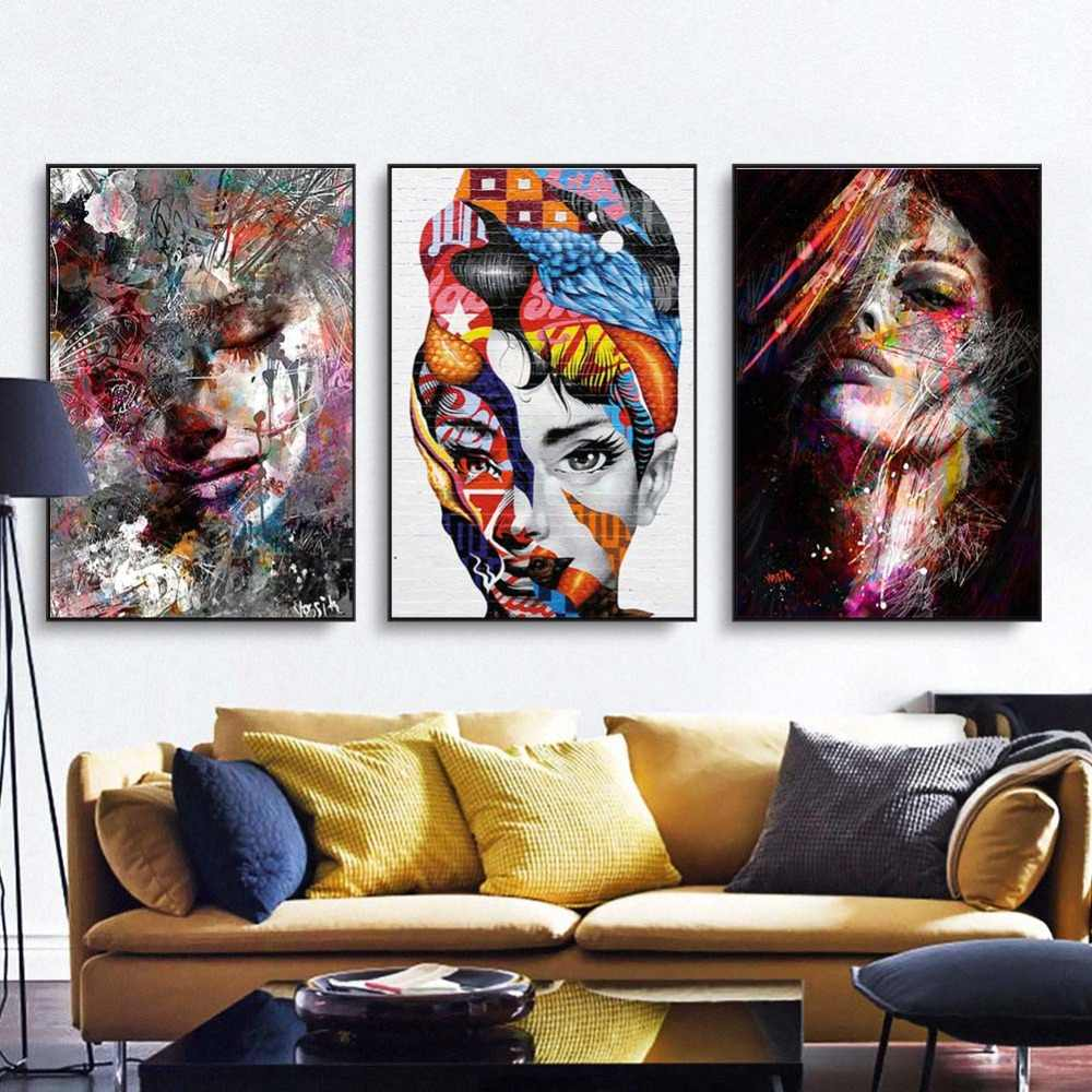 Canvas Painting figure Picture Wall Art Pictures Prints Colorful Woman on Canvas portrait Home Decor Abstract Wall Poster