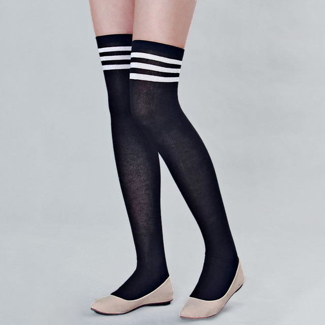 323753161ee Hot Sale Womens Girls Thigh High Striped Cotton Over Knee Stockings Black