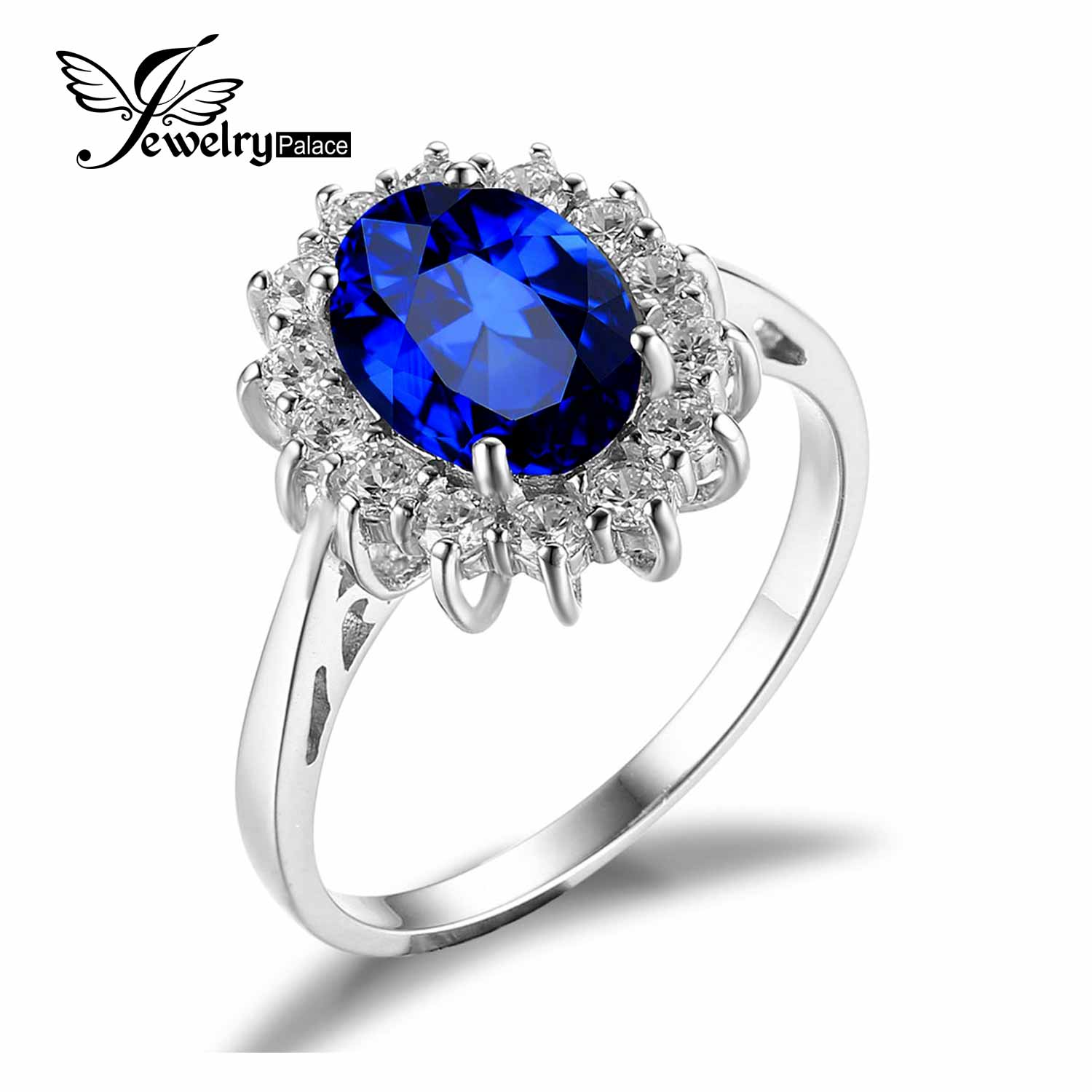 JewelryPalace Princess Diana William Kate Middleton s 3 2ct Created Blue Sapphire Engagement 925 Sterling Silver