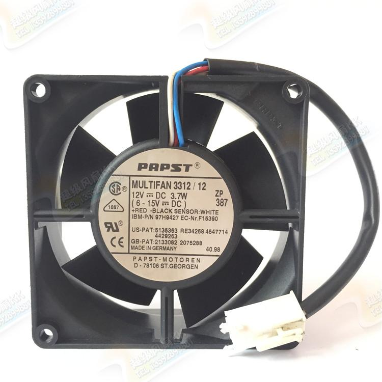 ebmpapst MULTIFAN3312/12 MULTIFAN 3312/12 Server Square Fan DC 12V 3.7W 90x90x32mm 3-wire emacro for nonoise a8025h24b server square fan dc 24v 0 095a 80x80x25mm 2 wire