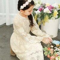 Lace Dress For Girls Long Sleeve Lace Princess Wedding Party Kids Dress Little Girl Birthday Dress