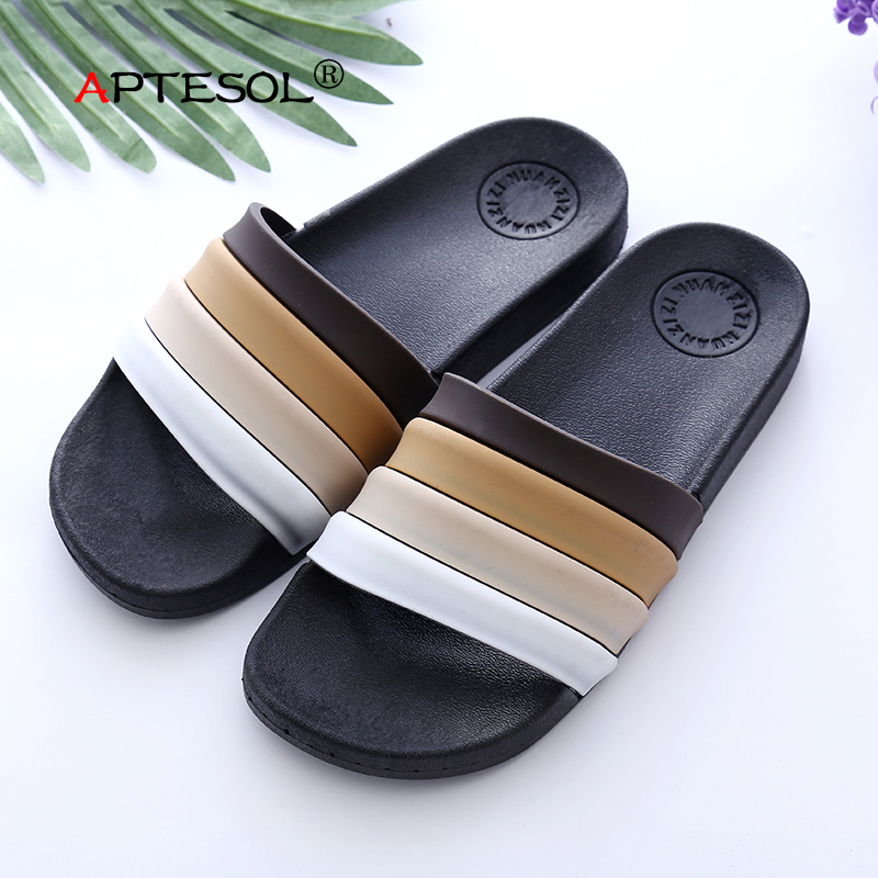 APTESOL Fashion Men Summer Indoor PU Slippers Daily Unisex Couple Skid Proof Home Floor Casual Shoes Platform Comfortable Flats new arrival fashion style couple wear shoes striped men women winter time slippers indoor wear unisex good quality comfortable