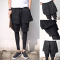 2016 Fashion Autumn Spring British style Men Irregular Unique Rock Steampunk Punk Decadent Tri Layered Drawstring Ninth Pants
