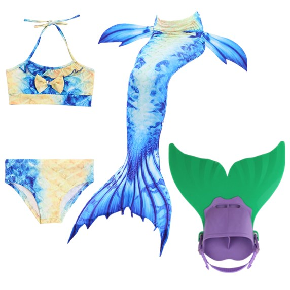2018 new 4PCS/Set Swimming Mermaid Tail with Monofin Flipper Bikini Girls Children Swimmable Mermaid Tail Costome Cosplay
