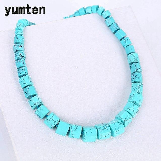 Yumten turkusowe kobiet naszyjnik kamień duży choker oświadczenie mężczyzn naturalny kryształ mocy szczęście urok spersonalizowane prezent hurtownie