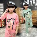 2017 Spring And Autumn Girl Children's Garment Catamite Brand Suit Korean Style Fashion Children Long Sleeve Street Wear Twinset