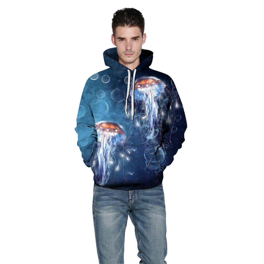 Men/Women New Casual Sweatshirts 3d Digital Jellyfish Print Fashion Thin Hoodies Pullovers With Big Pocket Hoody Tops