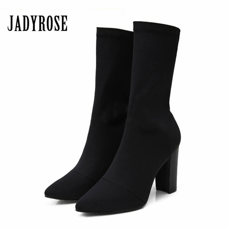 JADY ROSE Sexy Black Elastic Sock Boots Chunky High Heels Women Stretch Ankle Boots Pointed Toe Women Pumps Botas Mujer women ankle boots platform chunky heels pointed toe black women high heels boots sexy laides party boots shoes heels