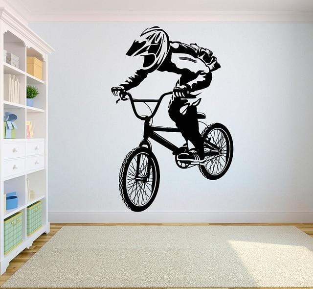 Pegatinas de vinilo para pared de competición de bicicleta de montaña, pegatina de pared para atletas competitivos, dormitorio juvenil, decoración del hogar, 2CE3