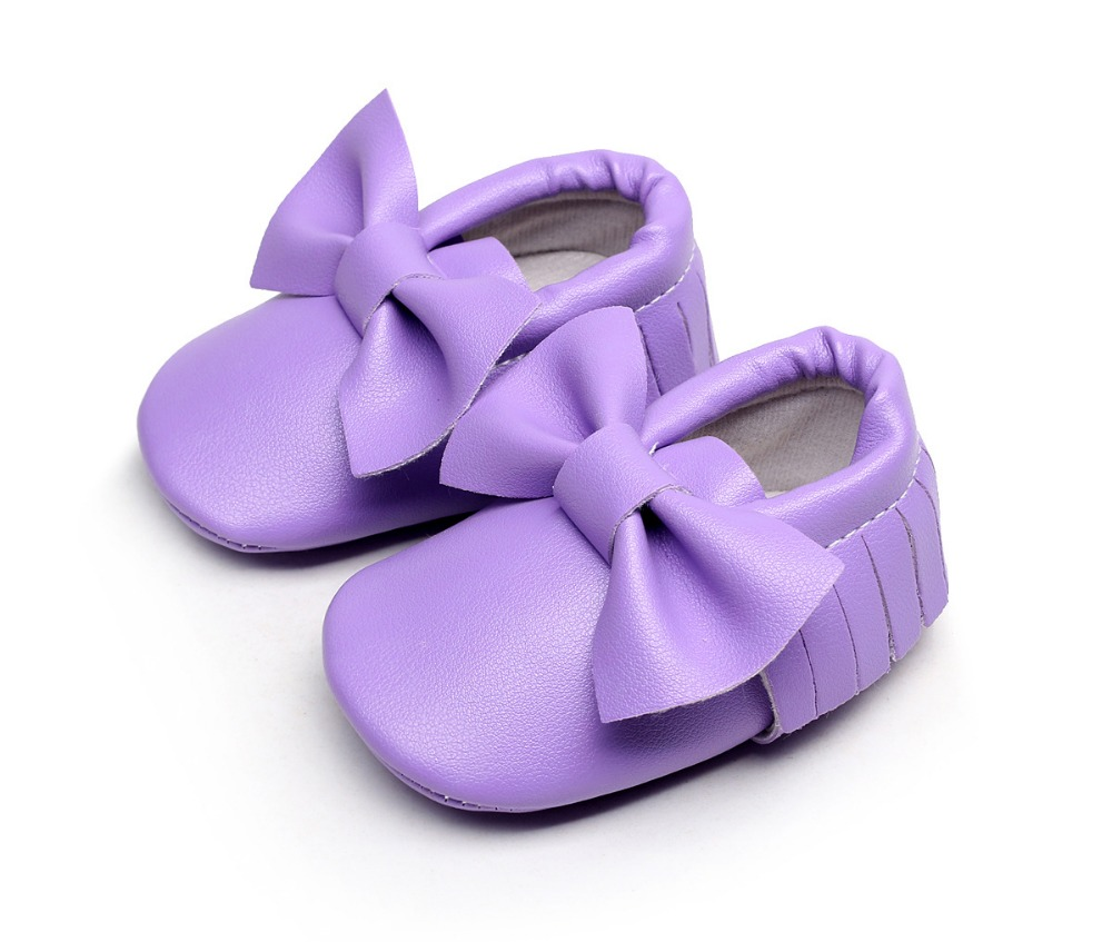 Big Bow Fringe PU Leather Baby Moccasins For Baby Girls Baby Boys And Girls Soft Soled Shoes Newborn Toddler Girl Crib Shoes