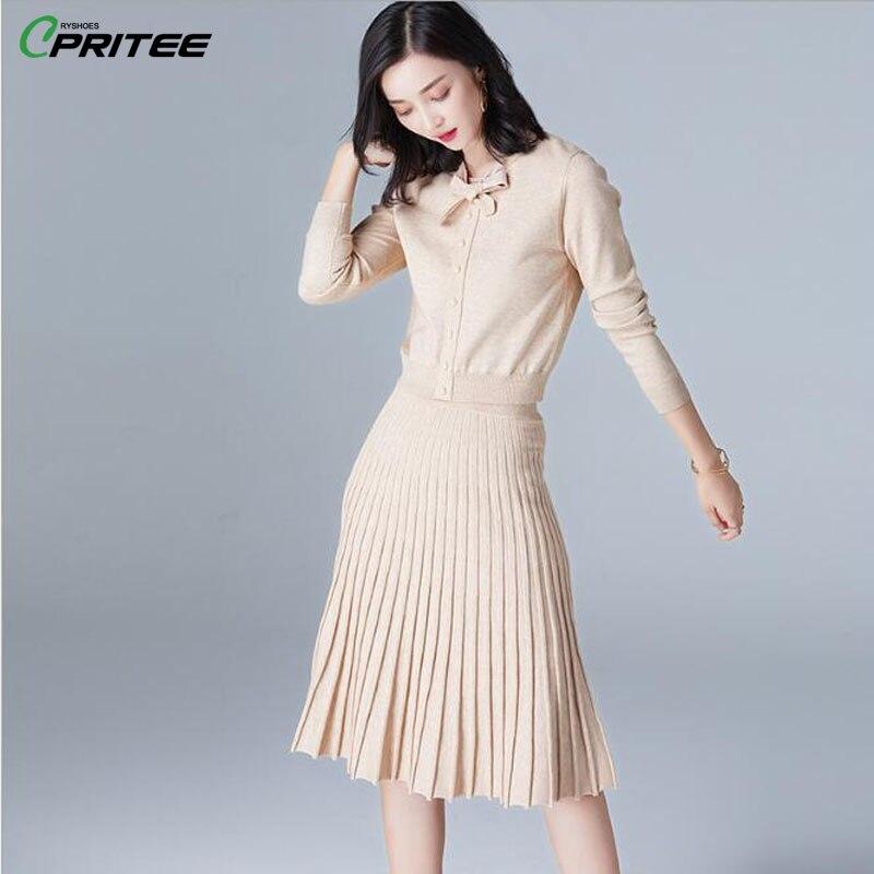 Spring Knitted Sweater Skirt Set Striped Two Piece Set Bowknot Ensemble Femme Survetement Chic Tracksuit Women Women Sets