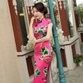 Chinese Women's Satin Cheongsam Long Qipao Printed Dress S-2XL China Oriental Dresses Traditional Chinese Cheongsams
