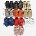 100% zapatos de Bebé de Cuero Genuino Mocasines hechos a mano Zapatos de Bebé con cordones Borla Chaussure Bebe Primeros Caminante zapatos recién nacidos