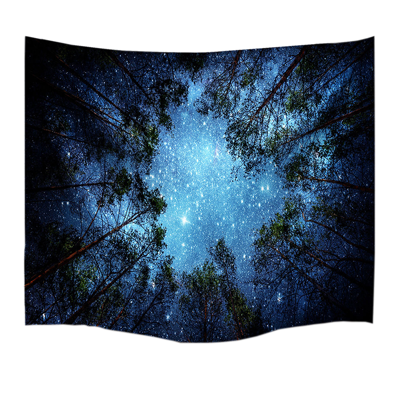 Psychedelic Forest Trees and Stars Starry Sky Fabric Wall