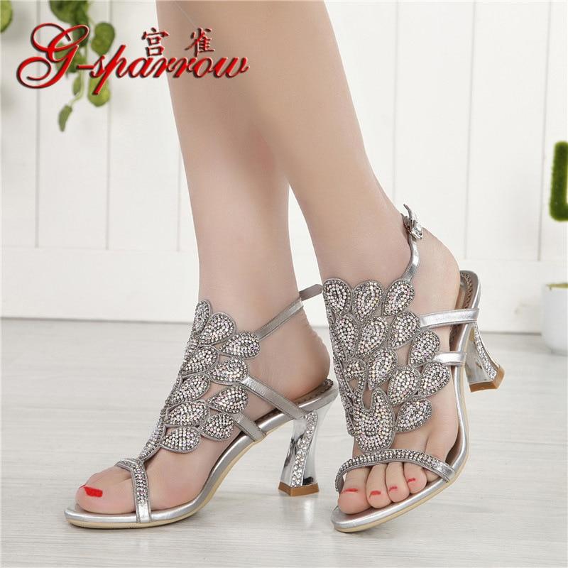 G-sparrow 2018 Summer Korean Rhinestone Slipper Silver Elegant Wedding Shoes Womens Crystal High Heel Sandals