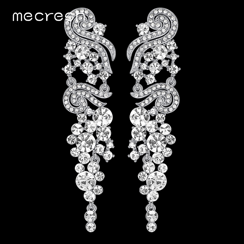 Mecresh Rhinestone Wedding Long Earrings for Women Fashion Silver Color Crystal Bridal Bridesmaid Party Earrings Jewelry EH287 pair of graceful rhinestone long earrings for women