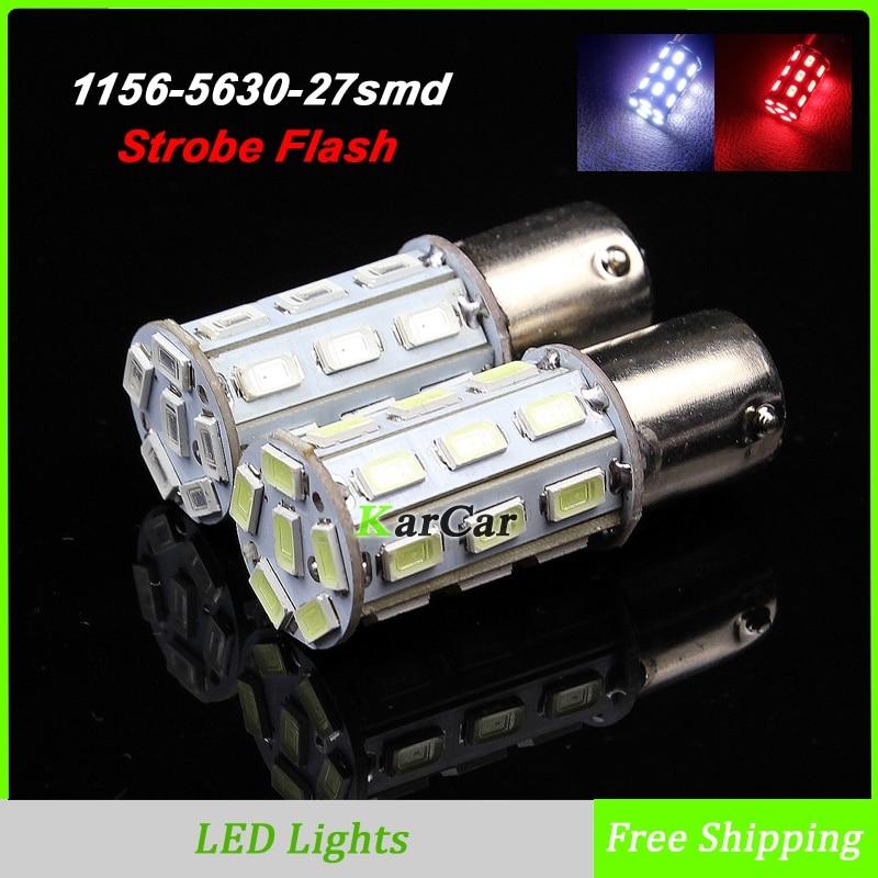 10PCS/Lot P21W 5630 27LED Strobe Flash Brake Bulb BA15S 7506 Car Fog Lights, 12V 1156 Rear Lamp 1141 1003 Reverse Bulb White/Red
