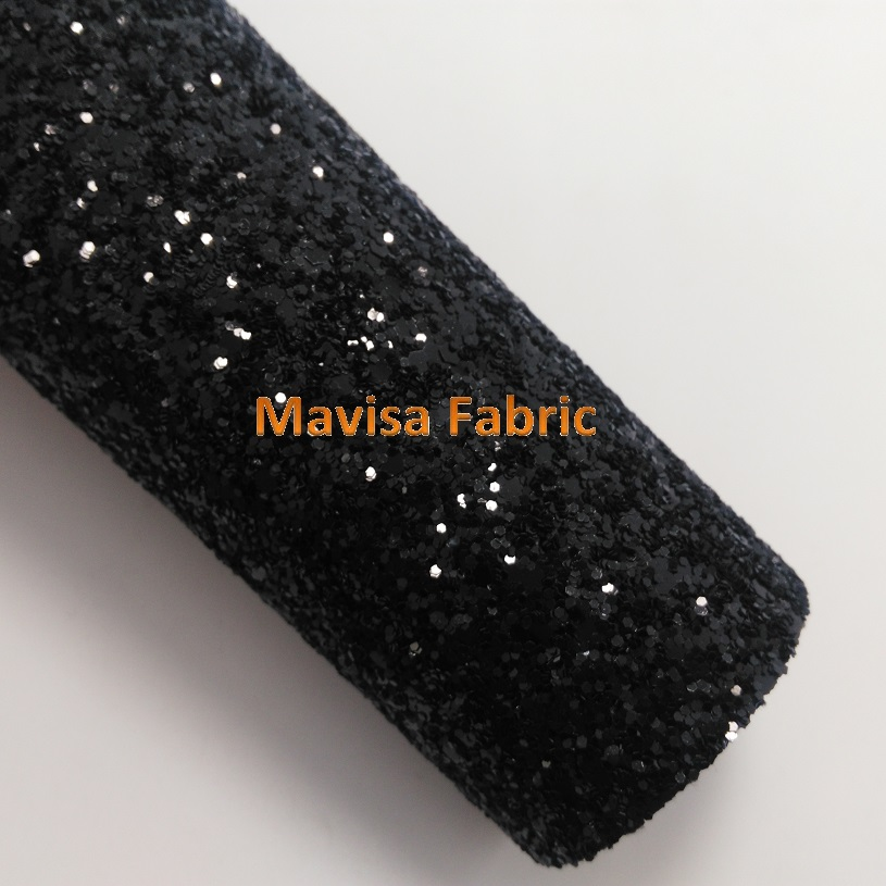 MQ001  30X134cm BLACK Chunky Glitter Leather, Glitter Fabric For Making Bows Shoes Handbags And Wallpaper Party Decoration