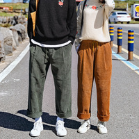 2018 Spring And Summer Department Of New Teenage Popular Street Style Retro Loose Corduroy Couple Casual
