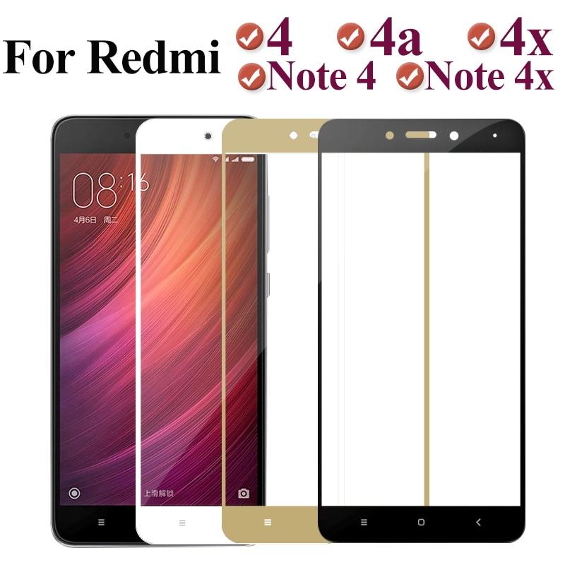 Full Cover Glass On For Xiaomi Redmi 4x 4a Note 4 Note4x Protective Glas Ksiomi Xiomi Redmi4x Note4 X4 A4 X Xiaomei Safety Film