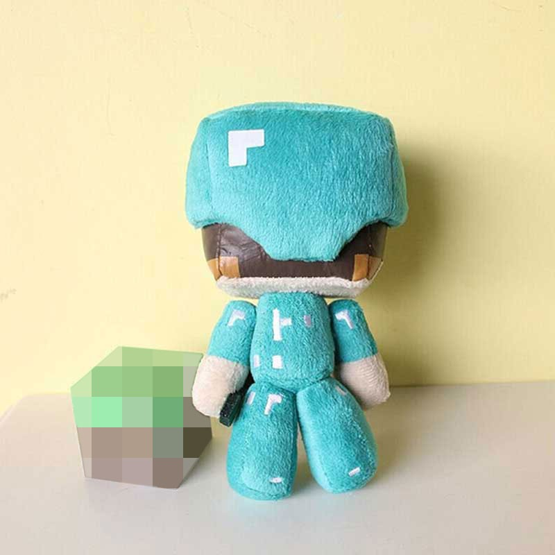 Hot 1pc 18cm Minecraft Steve Plush Toys 7 Minecraft Steve With Diamond Sword Plush Toy Doll