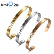 Braccialetti identificativi personalizzati da 5mm incidere il nome promessa acciaio inossidabile 3 colori bracciali e braccialetti da donna (JewelOra BA101915)