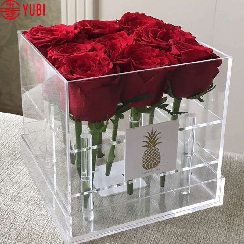 Transparent Acrylic Rose Flower Box Flower Gift Box With Cover