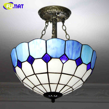 FUMAT Mediterranean Modern Brief Fashion Corridor Aisle Ceiling Lamp LED Warm Blue &White Lampshade Lighting For Living Room