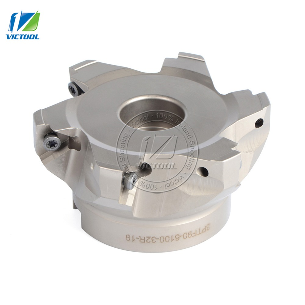 FREE SHIPPING 3PTF90*6100*32R*19 right angle shoulder face mill cutter 6pcs 3PKT 1906 inserts are fitted on the cutter ahu10 20 21 160 right angle shoulder face mill suitable for hitachi insert jdmt1003
