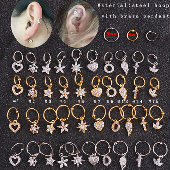 Sellsets New gold heart hexagon crystal tragus daith earrings helix cartilage hoop septum nostril piercing jewelry