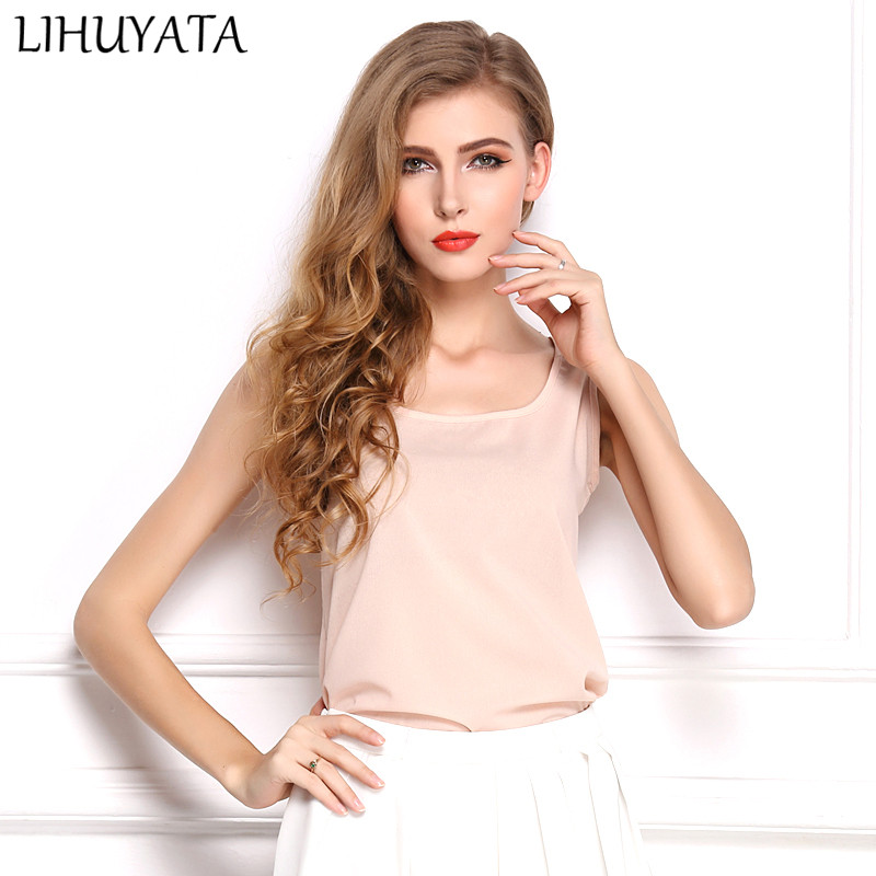 LIVAGIAL Basic Style Female Tank Tops Casual Slim Sleeveless Women Undershirt Chiffon Vest Ladies Tee Clothing