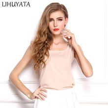 LIVAGIAL New Fashion Basic Style Female Tank Tops Casual Slim Sleeveless  Undershirt Chiffon Vest Ladies Tee Clothing 374ff8854fa9
