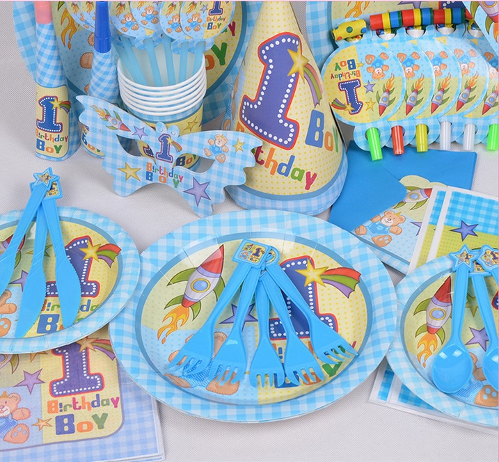 90pcs 1 Year Old Boy Theme Package Decorating Supplies 6 People Birthday Party Decoration Free Shipping On Aliexpress