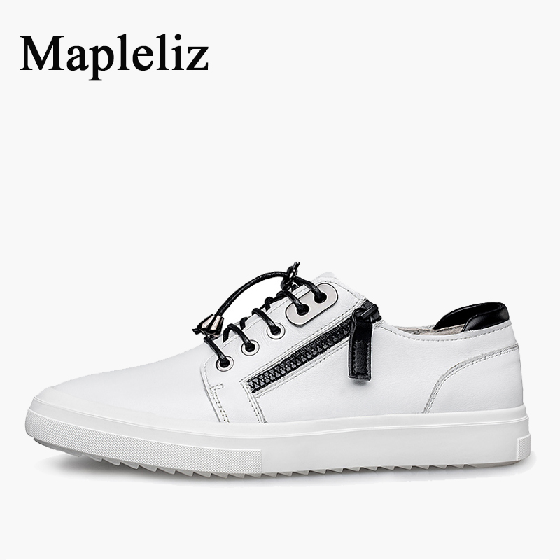 Mapleliz Brand Men Zip Casual Shoes Handmade Genuine Cow Leather Fashion Silver Male Flats Leisure High Quality Shoes for Men relikey brand men casual handmade shoes cow suede male oxfords spring high quality genuine leather flats classics dress shoes