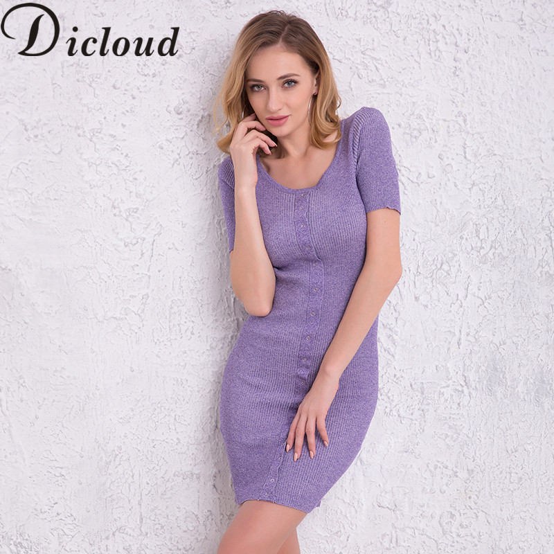 DICLOUD 2018 Spring Women Dresses Summer O-neck Short Sleeve Knitted Slim Fit Button Casual Mini Dress Bodycon Vestidos SA232035 женское платье women summer casual dress 2015 o slim fit vestidos lya1555