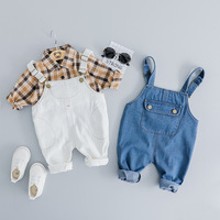 KINE PANDA Baby Boy Clothes Baby Clothes Set Plaid Shirt Strap Jeans Two piece Casual Sport Suits Spring Boys Korean 6M 1 2 3Y