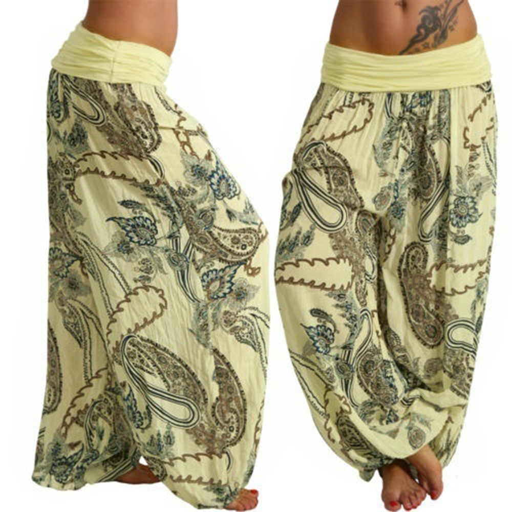 CALOFE Spring Summer Boho Pants For Women Printed Capris Pants Female 2019 High Waist Trousers Ladies Casual Loose Home Pants