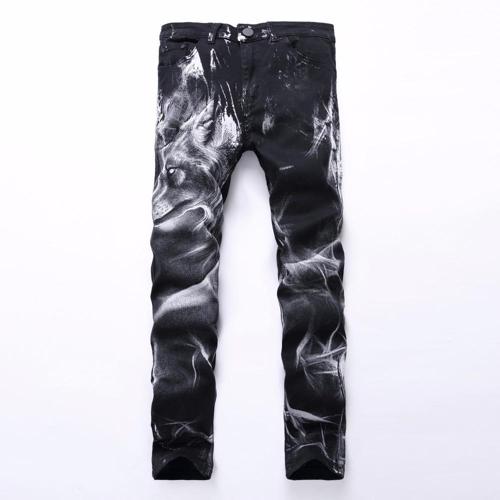 2018 New fashion Mens fashion wolf print stretch denim jeans Slim black painted straight pants Long trousers