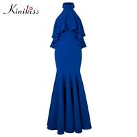 Kinikiss Women Wedding Party Dress 11 11 Shopping Festival Sexy Backless Stand Mermaid Elegant Royal Blue