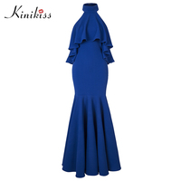 Kinikiss Women Wedding Party Dress 11 11 Shopping Festival Sexy Backless Stand Mermaid Elegant Royal Blue