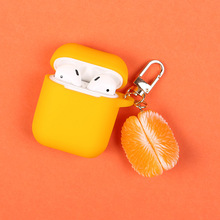Cute Cartoon Orange Keychain Key Ring Headphone Earphone Case For Apple Airpods Accessories cute silicone cover