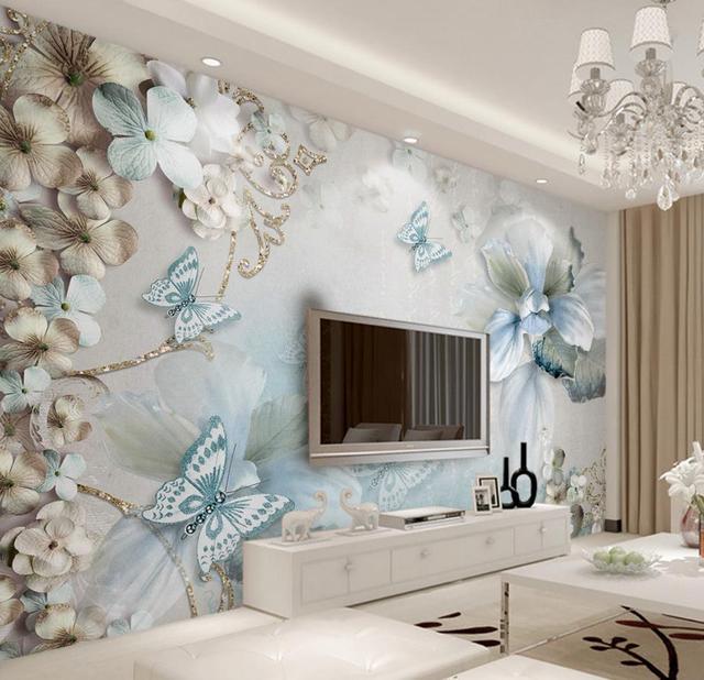 Mediterraneo fiori farfalla 3d murales carta da parati per soggiorno ...