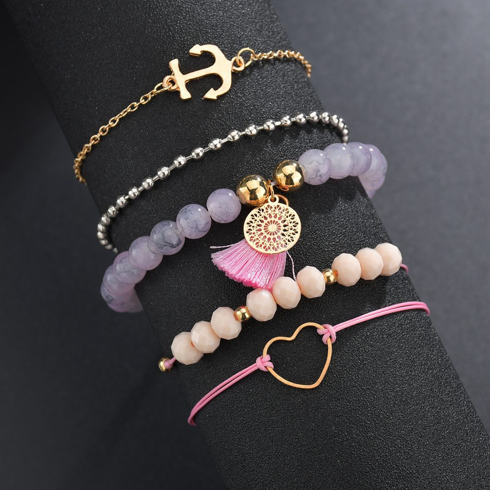 Huitan Bracelets Sets With Cute Pinapple Crawfish Pendant Decorations Fashion Beads&Tassel Women Wrist Chain Dropshipping