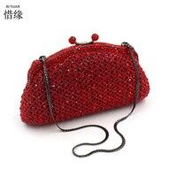 XIYUAN MERK lady hoge kwaliteit en goedkoopste parel gepersonaliseerde indian rood bridal tassen clutch portemonnees meisjes portefeuilles messenger bag